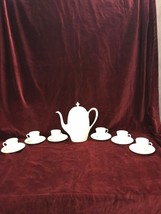 LENOX Tea set demitasse 6 cups pot with lid Ivory Mid Century USA Coffee mini - $98.99