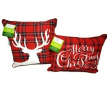 Mainstays Christmas Pillows Outdoor Indoor Toss & Lumbar Pillow Merry Ch... - $24.70