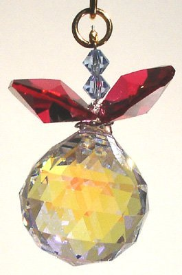 J'Leen Aurora Borealis Ball with Bordeaux Leaves Crystal Berry Ornament
