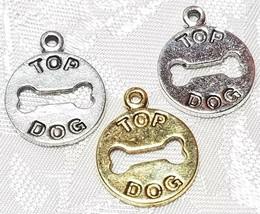 TOP DOG CUTOUT BONE FINE PEWTER PENDANT - 16mm L x 21mm W x 1mm D image 1