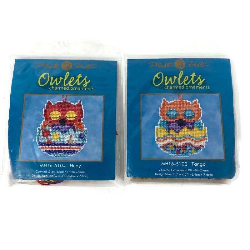 2 Mill Hill Owlets Tango Huey Beaded Charmed Cross Stitch Kit 2015 - $14.01