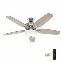 Hunter 54 Inch Ceiling Fan Indoor Large Room LED Brushed Nickel Remote C... - $118.79