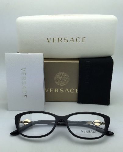 2ea805a063 New VERSACE Eyeglasses VE 3206 GB1 54-15 Black   Gold Frames w Clear
