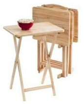 5 Piece TV Tray Table Set Wooden Folding Portable Home Furniture Kids Sn... - $42.99