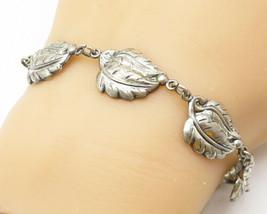 DANECRAFT 925 Silver - Vintage Sculpted Leaf Link Chain Bracelet - B5136 - $35.56