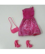 Barbie doll's outfit sparkle & shine pink silver dress heel shoes purse set - $9.89