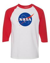 NASA Logo Raglan Baseball T Shirt Space Shuttle Astronaut UFO Mars Vinta... - $15.29+