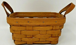 Small Rectangle Longaberger Basket 1994 Signed Plastic Liner Leather Han... - $23.70