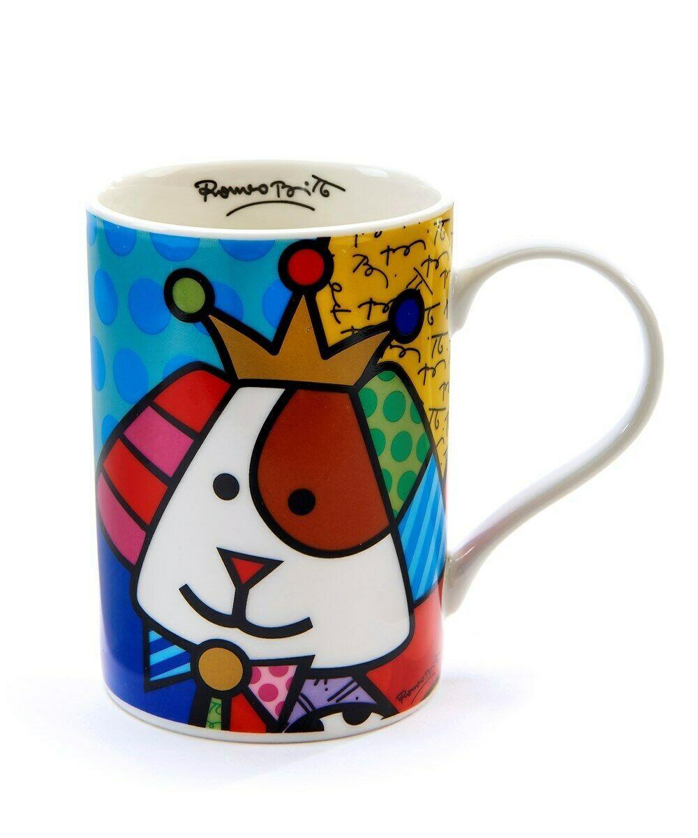 Romero Britto Ceramic Royal Dog Design Mug Gift Boxed 12 oz 10th Anniversary Mug
