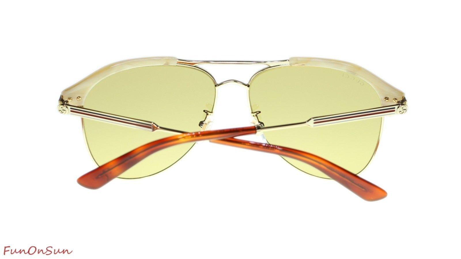 c5494e5a8482d Gucci Men Sunglasses GG0288SA 004 Beige Gold Brown Lens Aviator 60mm  Authentic