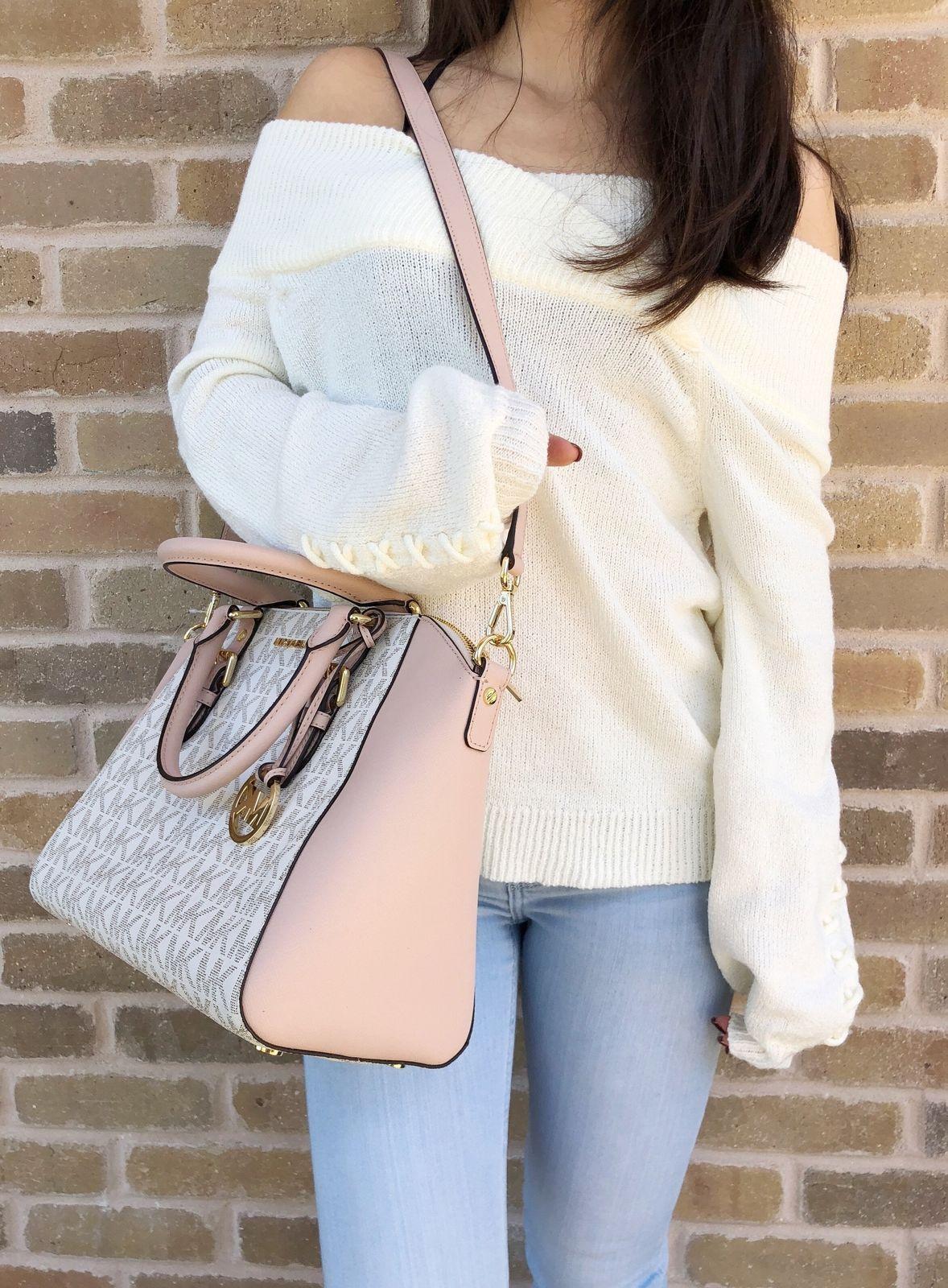 98166ebeaf91 NWT Michael Kors Ciara Large Top Zip Satchel Vanilla Signature MK Ballet  Pink