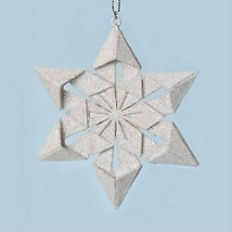 "4"" Holy Night Origami Star Point Glitter Snowflake Christmas Ornament - ... - $21.95"