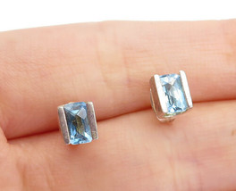 925 Sterling Silver - Vintage Square Cut Blue Topaz Petite Stud Earrings... - $23.09