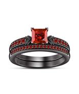 Princess Cut Red Garnet Womens Bridal Ring Set 14k Black Finish 925 Soli... - $77.59