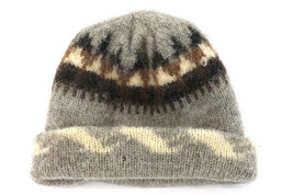 100% Wool Grey Brown Cream Black Knit Slouchy Beanie Hat Cap - $9.40