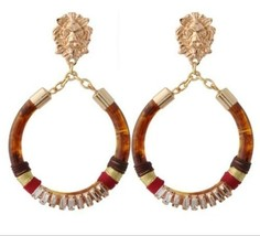 Gold Lion Head Brown Round Fun Fashion Stylish Trendy Dangle Drop Hoop E... - $15.83