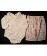 Girl's Size 3-6 M Months Two Piece Baby Q Cream/ Pink Floral L/S Top & P... - $16.00