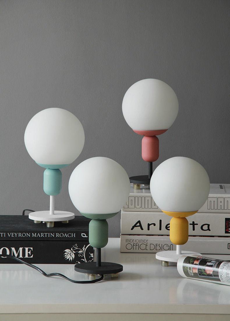 Cute Macaron Kids' Room Table Desk Lamp E27 Light Lighting Glass Globe Home Gift