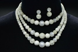 White Clear Crackle Arcylic Multi Strand Bead Beaded Choker Necklace Earring Set - $29.69