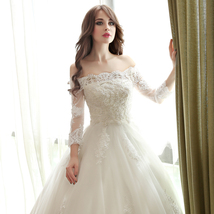 Boat Neck China Wedding Dress, Long Sleeve Lace Pricess Wedding Gowns Iv... - $180.00
