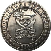 Hobo Nickel 1890 Dollar Skull and Crossbones Pirate Skeleton Sea US Cast... - $9.49