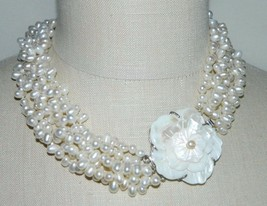 VTG Silver Tone Mother of Pearl Carved Flower Clasp Cluster Glass Pearl Choker - $49.50