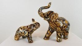 Mama & Baby Elephant Figurines Animal Print Zebra Tiger African Safari T... - $49.98