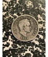 1914 Colombia 10 Centavos Lot#Z2124 Silver!  - $9.50