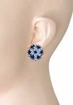 """1"""" Long Navy and Cobalt Blue Rhinestones Clip On Earrings Evening,Casual Chic - $14.20"""