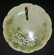"Brownie signed Round Daisy Trinket Dish With Gold Handle  6"" H4 - $16.99"