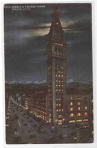 Daniels & Fishers Tower at Night Denver Colorado 1910s postcard - $5.94