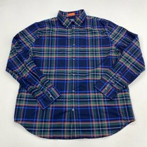 St John's Bay Button Up Shirt Mens XL Blue Green Orange White Plaid Comf... - $18.95