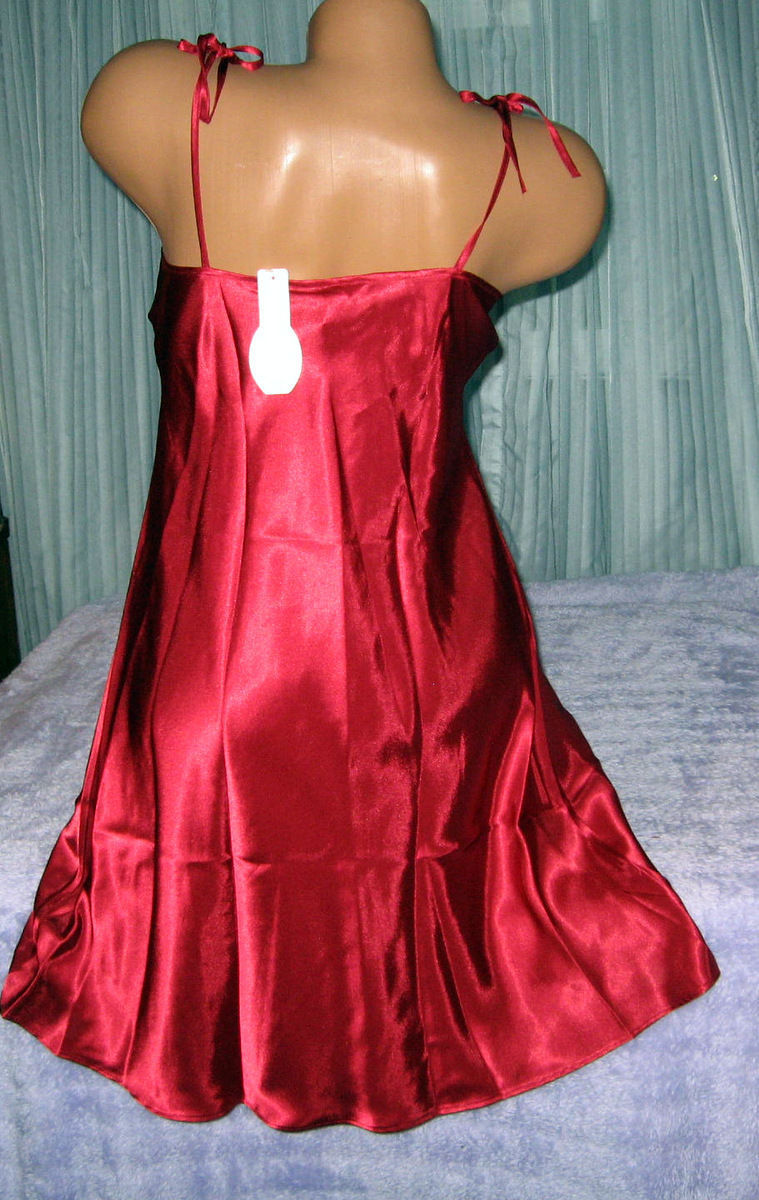 Red Silky Satin Nightgown Chemise XS S M Short Gown Tie Straps