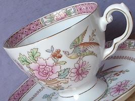 Vintage Hand Painted pink bird of Paradise English bone china tea cup te... - $38.61