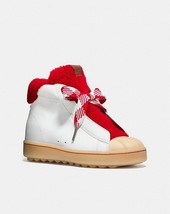 Coach Colorblock High-Top Platform Sneaker with Fur White/Cherry Size 7.5 - $169.99