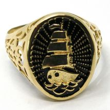 Ring Gold 750 18K, Yellow, sailing ship, ship, worked and perforated, Black image 3