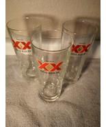 (3)  XX DOS EQUIS  SIGNATURE GLASSES----CERVEZA--FREE SHIP--VGC - $31.68