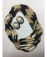 VINTAGE CINER SIGNED BLACK & FAUX PEARL GOLD TONE NECKLACE EARRING DEMI ... - $275.00