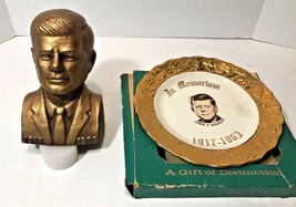 JFK Memorial Bundle Gold Embossed Rim Plate Sabins - Hvy Cast Metal Bust... - $31.88