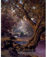 Autumn Brook 30x44 Hand Numbered Edition Maxfield Parrish Art Deco Print - $118.04