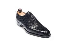 Handmade Men's Black Crocodile Lace Up Leather Shoes image 6
