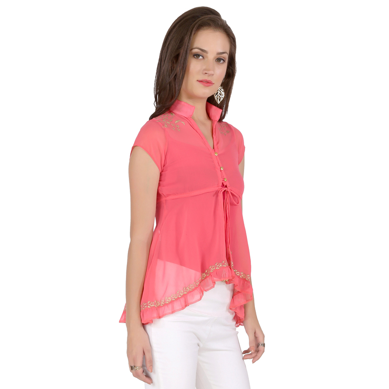 Ira Soleil pink block printed poly chiffon cap sleeve womens top