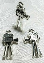 MOVIE CAMERA HOLLYWOOD FINE PEWTER PENDANT CHARM - 10.5mm L x 24mm W x 3mm D image 1
