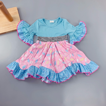 NEW Girls Boutique Feather Blue Pink Short Sleeve Ruffle Twirl Dress - $19.99
