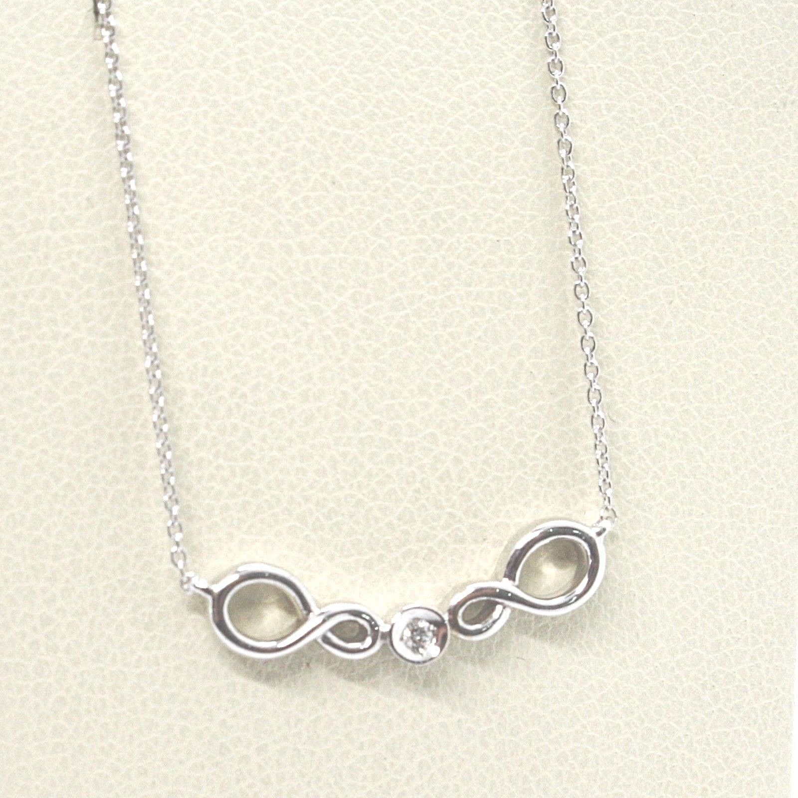 ORSINI 18K WHITE GOLD NECKLACE, DOUBLE INFINITE CENTRAL DIAMOND, MINI ROLO CHAIN