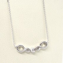 ORSINI 18K WHITE GOLD NECKLACE, DOUBLE INFINITE CENTRAL DIAMOND, MINI ROLO CHAIN image 1