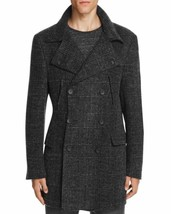 $1195.00 Hickey Freeman Felted Wool Houndstooth Topcoat Charcoal  Size 44 - $593.01