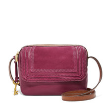 Fossil Aria Raspberry Wine Leather/Cotton Interior Zipper Closure Crossbody - $329.99