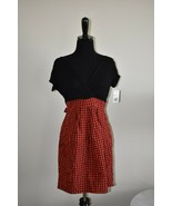 New NWT Forever 21 Red Plaid Skirt Black Jersey Knee Length Dress Size L... - $15.24