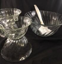 Toscany Victoria ,Glass Salad Bowl 7 Piece Set New in Box swirl  - $12.62
